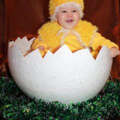 Михалев Арсений 8 месяцев (костюм и аксессуар сделан руками мамы этого милого цыпленка)  Скорлупа в гнезде хрустит.  Любопытный глаз блестит:  Из яйца, как из пелёнок,  Выбирается цыплёнок.  Потянулся, отряхнулся,  Тихо пискнул, оглянулся:  - Что ж, пожалуй, я пойду  И родителей найду! © Юлия Михалева